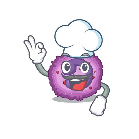 Eosinophil cell cartoon character wearing costume of chef and white hat. Vector illustration