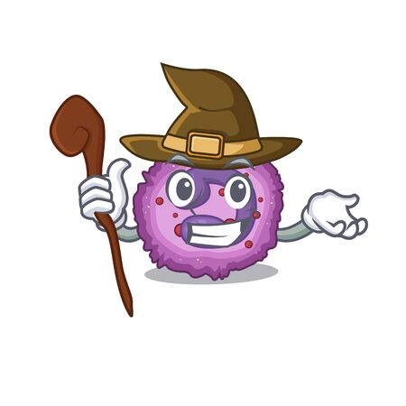 cartoon mascot style of eosinophil cell dressed as a witch. Vector illustration Vector Illustration