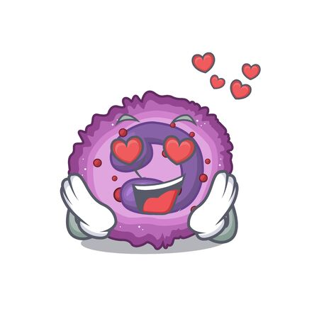 falling in love cute eosinophil cell cartoon character design. Vector illustration
