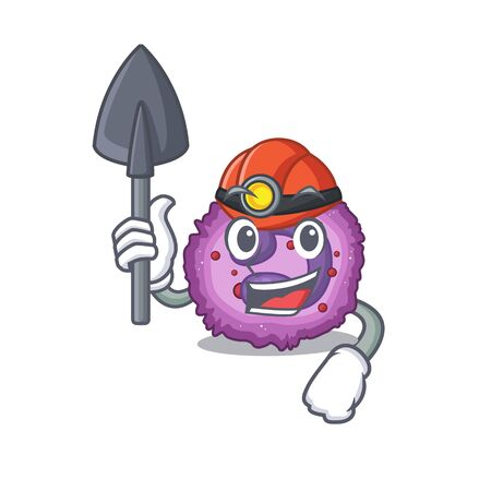 Cool clever Miner eosinophil cell cartoon character design. Vector illustration