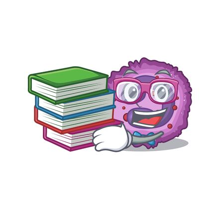 Cool and clever Student eosinophil cell mascot cartoon with book. Vector illustration Çizim