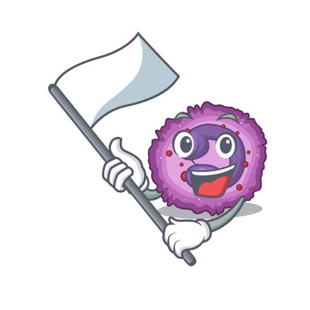 Funny eosinophil cell cartoon character style holding a standing flag. Vector illustration Archivio Fotografico - 138383004