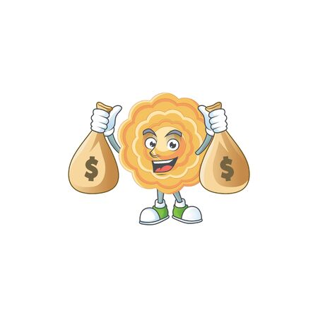 A picture of rich chinese mooncake cartoon character with two money bags