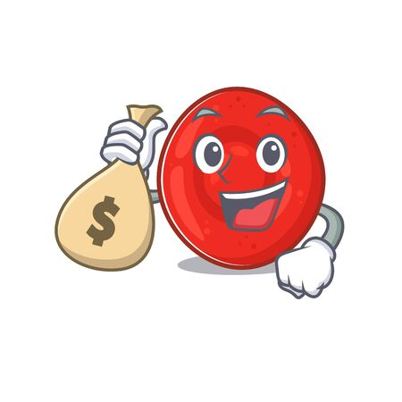 Happy rich erythrocyte cell cartoon character with money bag. Vector illustration