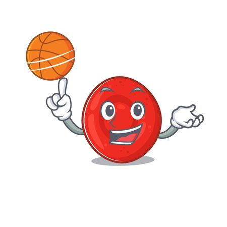 A mascot picture of erythrocyte cell cartoon character playing basketball. Vector illustration