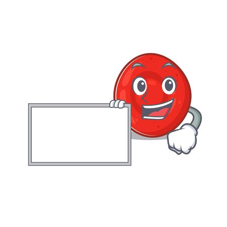 Funny erythrocyte cell cartoon character design style with board. Vector illustration