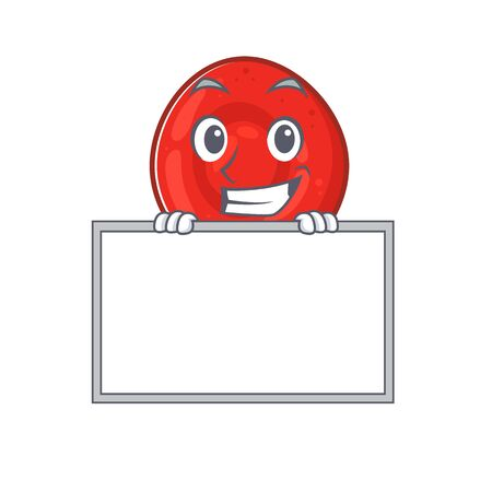 A cute picture of erythrocyte cell grinning with board. Vector illustration