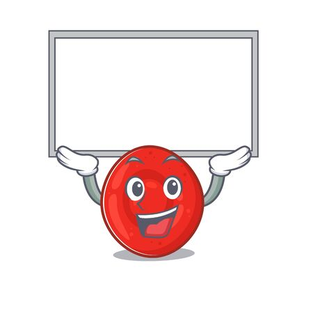 A mascot picture of erythrocyte cell raised up board. Vector illustration