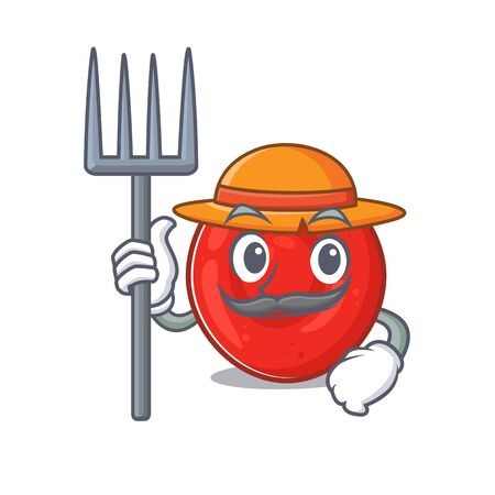 Cheerfully Farmer erythrocyte cell cartoon picture with hat and tools. Vector illustration
