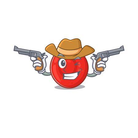 Erythrocyte cell dressed as a Cowboy having guns. Vector illustration