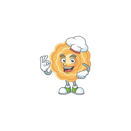 Chinese mooncake cartoon character wearing costume of chef and white hat Illustration
