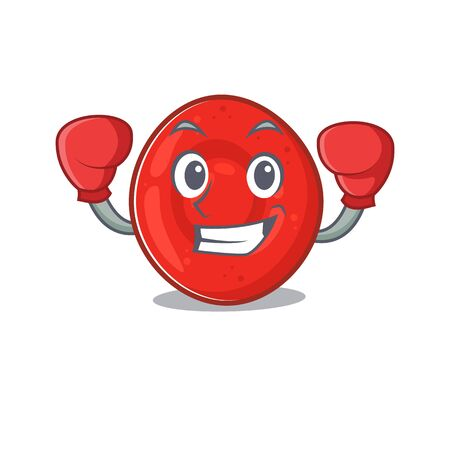 Sporty Boxing erythrocyte cell mascot character style. Vector illustration Vectores