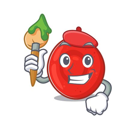 Cartoon character of erythrocyte cell Artist with a brush. Vector illustration