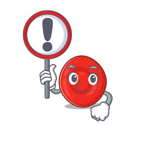 cool and funny erythrocyte cell raised up a Sign. Vector illustration