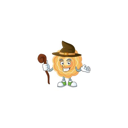 cartoon mascot style of chinese mooncake dressed as a witch Çizim