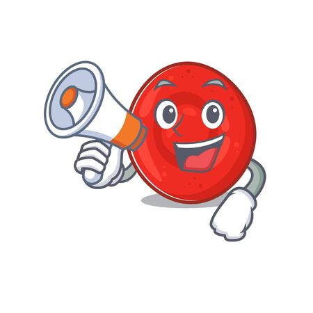 An icon of erythrocyte cell having a megaphone. Vector illustration Çizim