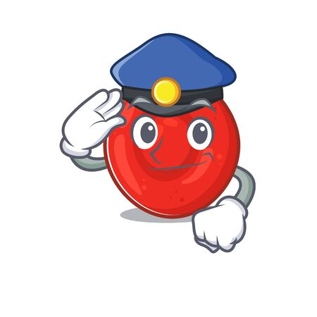 Erythrocyte cell Cartoon mascot performed as a Police officer. Vector illustration Vectores