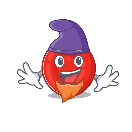 Funny erythrocyte cell cartoon mascot performed as an Elf. Vector illustration