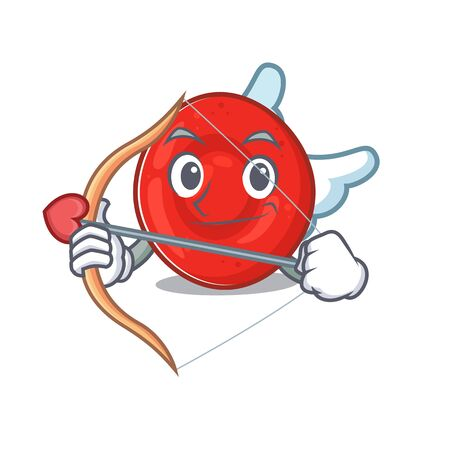 Romantic erythrocyte cell Cupid cartoon character with arrow and wings. Vector illustration