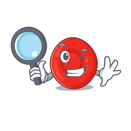 Cool and Smart erythrocyte cell Detective cartoon mascot style. Vector illustration