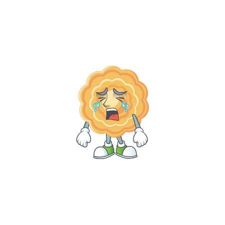 Sad of chinese mooncake cartoon mascot style