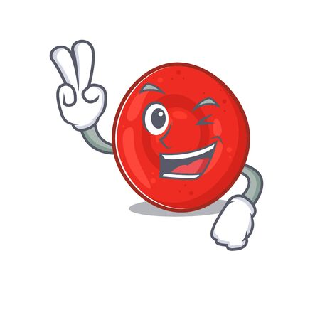 Smiley mascot of erythrocyte cell cartoon Character with two fingers. Vector illustration