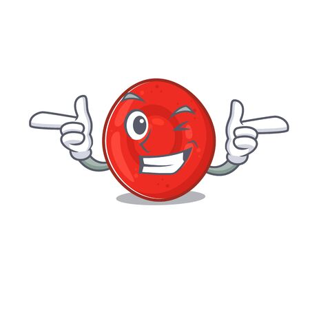 mascot cartoon design of erythrocyte cell with Wink eye. Vector illustration