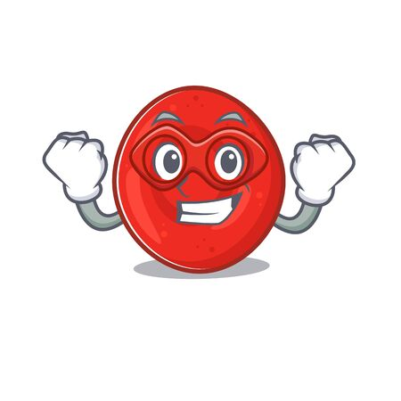 Smiley mascot of erythrocyte cell dressed as a Super hero. Vector illustration Vectores