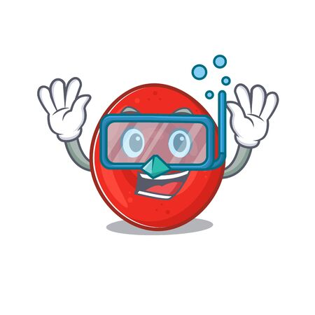 cartoon character of erythrocyte cell wearing Diving glasses. Vector illustration