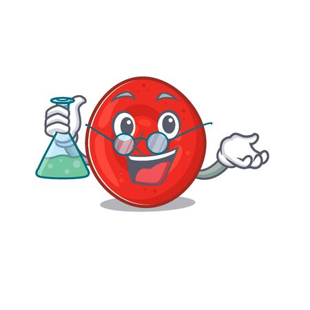 Smart Professor erythrocyte cell cartoon character with glass tube. Vector illustration
