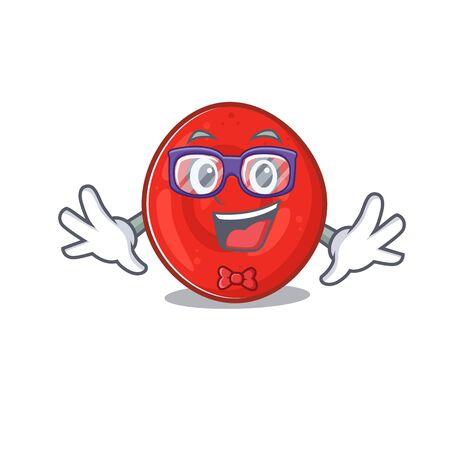 cartoon character of Geek erythrocyte cell design. Vector illustration