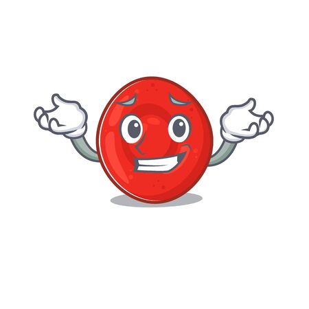 Super Funny Grinning erythrocyte cell mascot cartoon style. Vector illustration