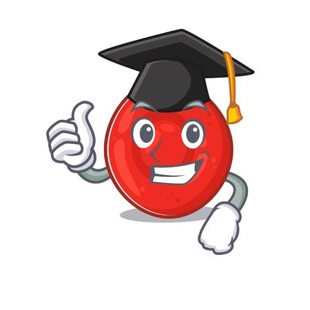 happy and proud of erythrocyte cell wearing a black Graduation hat. Vector illustration Vectores