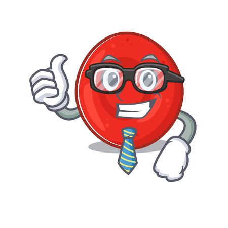 cartoon character of Businessman erythrocyte cell wearing glasses. Vector illustration