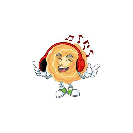 Listening music chinese mooncake mascot cartoon character design Çizim