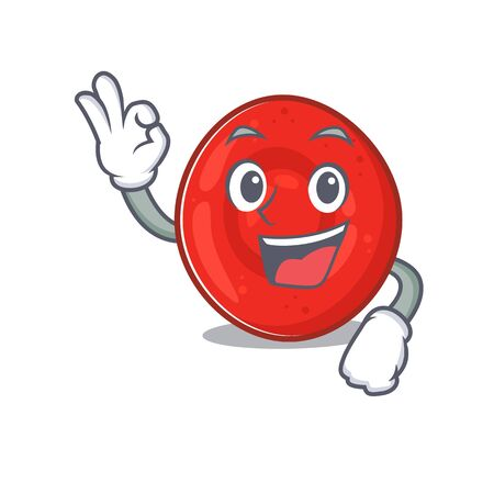 A picture of erythrocyte cell making an Okay gesture. Vector illustration