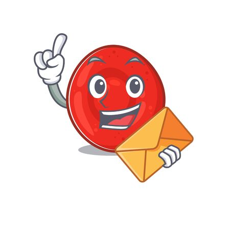 Cheerfully erythrocyte cell mascot design with envelope. Vector illustration