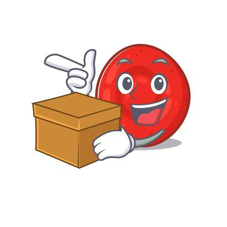Cute erythrocyte cell cartoon character having a box. Vector illustration
