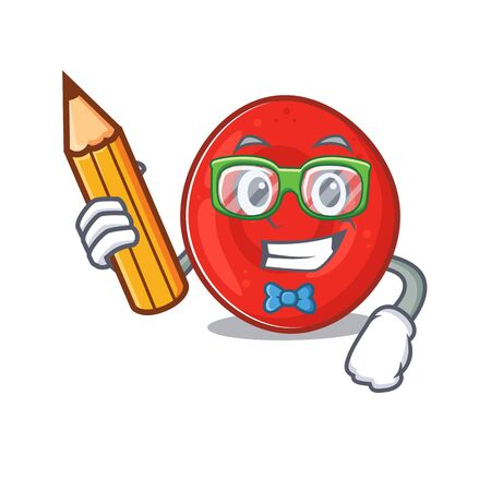 A picture of Student erythrocyte cell character holding pencil. Vector illustration Stok Fotoğraf - 138382259