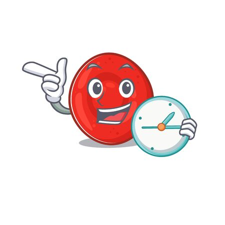 cartoon character style erythrocyte cell having clock. Vector illustration Vectores