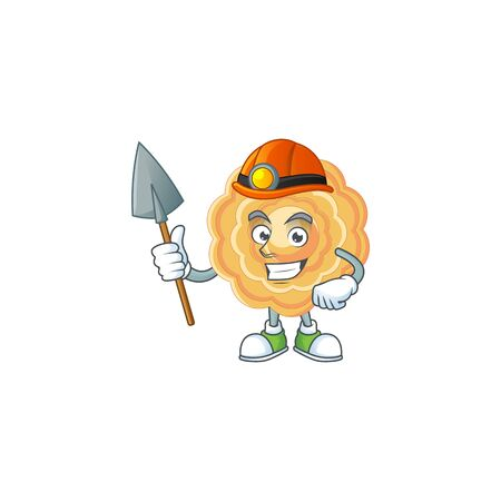 Cool clever Miner chinese mooncake cartoon character design