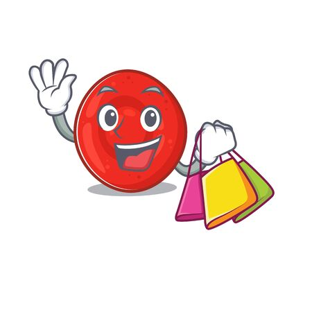 A happy rich erythrocyte cell waving and holding Shopping bag. Vector illustration