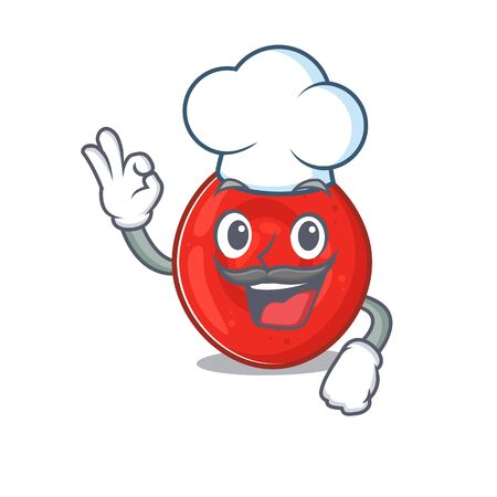 Erythrocyte cell cartoon character wearing costume of chef and white hat. Vector illustration