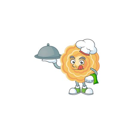 cartoon design of chinese mooncake as a Chef having food on tray
