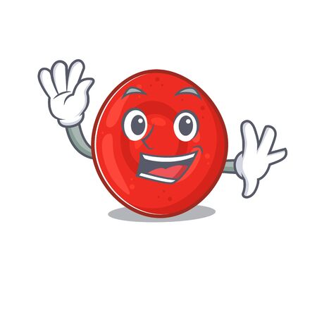 Waving friendly erythrocyte cell cartoon character design. Vector illustration