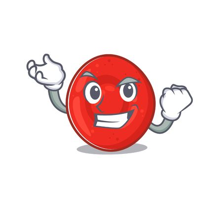 Happy confident Successful erythrocyte cell cartoon character style. Vector illustration
