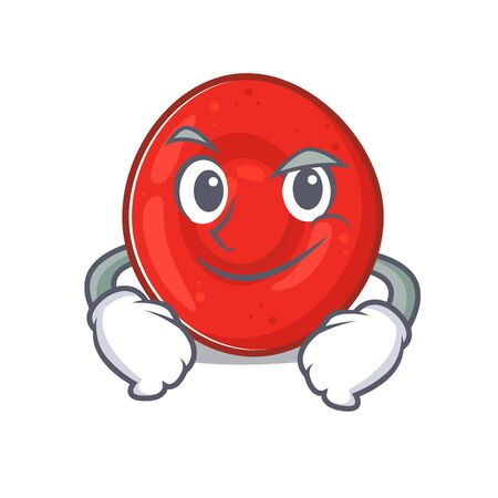 Cool erythrocyte cell mascot character with Smirking face. Vector illustration