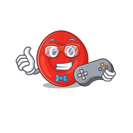 Smiley gamer erythrocyte cell cartoon mascot style. Vector illustration