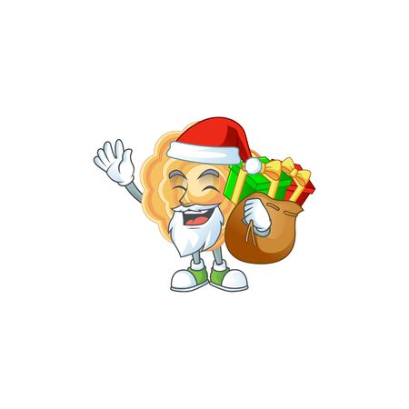 Santa chinese mooncake Cartoon character design having box of gift