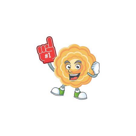 Chinese mooncake mascot cartoon style holding a Foam finger Çizim